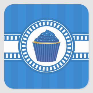Blue Cupcake with White Sprinkles Square Sticker
