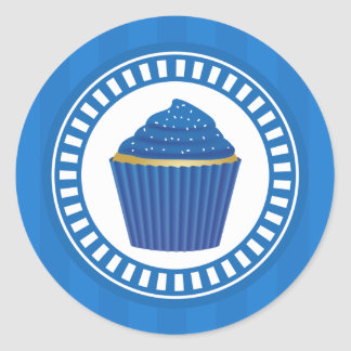 Blue Cupcake with White Sprinkles Classic Round Sticker