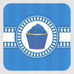 Blue Cupcake with White Sprinkles Sticker