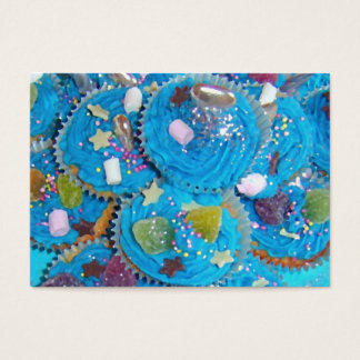Blue Cupcakes business card chubby white