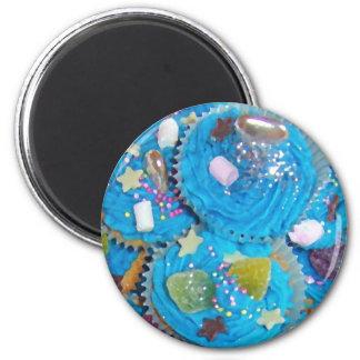 Blue Cupcakes fridge magnet round