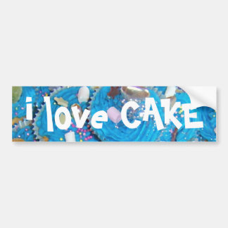 Blue Cupcakes 'I love cake' bumper sticker