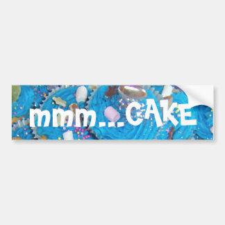 Blue Cupcakes 'mmm... cake' bumper sticker