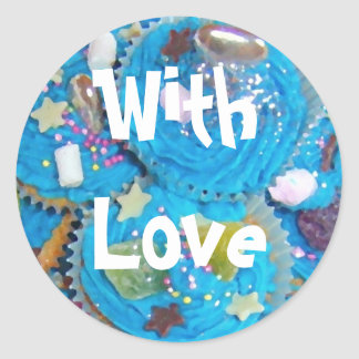 Blue Cupcakes 'With Love' sticker