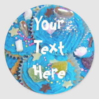 Blue Cupcakes 'Your Text' white sticker