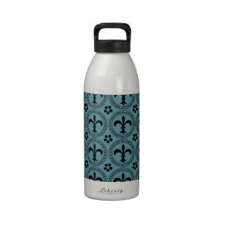 Blue Curacao And Black Fleur De Lis Pattern Reusable Water Bottle