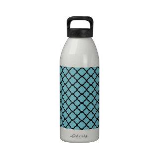 Blue Curacao And Black Quatrefoil Mesh Pattern Water Bottle