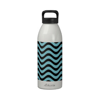 Blue Curacao And Black Waves Patterns Drinking Bottle