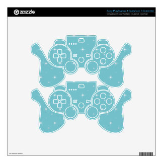 Blue-Curacao-And-Bright-Stars-Elegant-Pattern PS3 Controller Skin