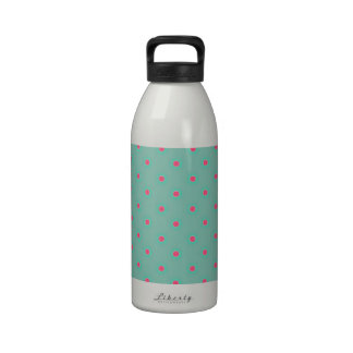 Blue Curacao And Pink Medium Polka Dots Pattern Water Bottle