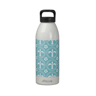 Blue Curacao And White Fleur De Lis Pattern Reusable Water Bottles