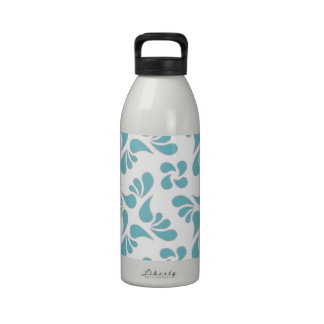 Blue Curacao And White Graphic Art Pattern Drinking Bottles
