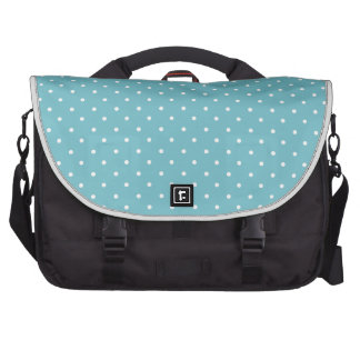 Blue-Curacao And-White-Polka-Dots Laptop Computer Bag