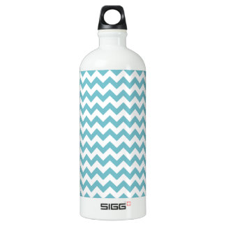 Blue-Curacao And-White-Zigzag-Chevron-Pattern Aluminum Water Bottle