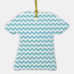 Blue-Curacao And-White-Zigzag-Chevron-Pattern Ornament