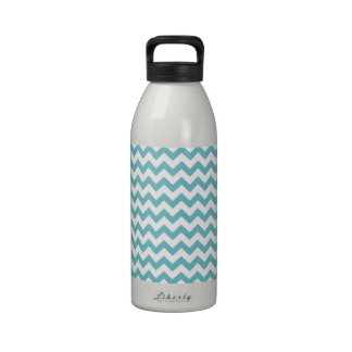 Blue Curacao And White Zigzag Chevron Pattern Drinking Bottle