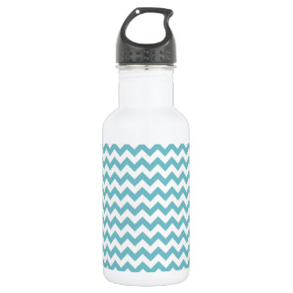 Blue-Curacao And-White-Zigzag-Chevron-Pattern Water Bottle
