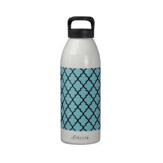 Blue Curacao & Black Maroccan Trellis Quatrefoil Reusable Water Bottle