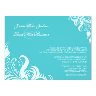 Blue Curacao Floral Accent Wedding Invitation