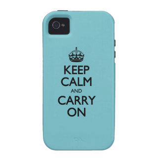 Blue Curacao Keep Calm And Carry On Vibe iPhone 4 Cases