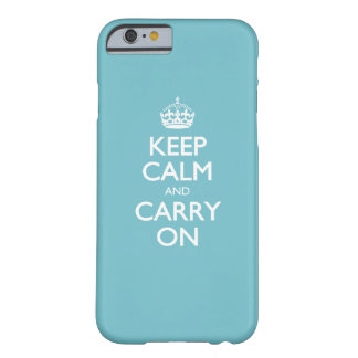Blue Curacao Keep Calm And Carry On White Text Barely There iPhone 6 Case