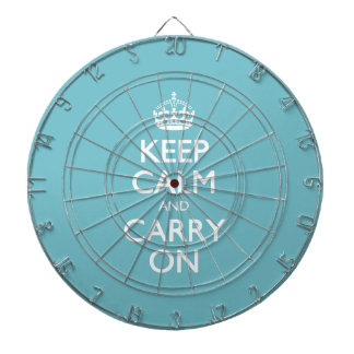 Blue Curacao Keep Calm And Carry On White Text Dart Boards