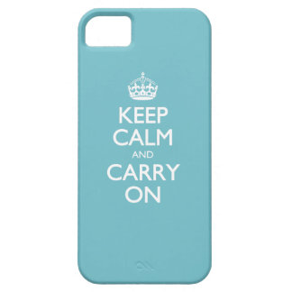 Blue Curacao Keep Calm And Carry On White Text iPhone SE/5/5s Case