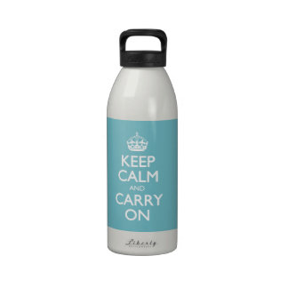 Blue Curacao Keep Calm And Carry On White Text Reusable Water Bottle