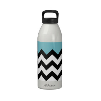 Blue Curacao Pattern On Black & White Large Zigzag Reusable Water Bottle