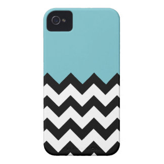 Blue-Curacao-Pattern-On-Black-&-White--Zigzag Case-Mate iPhone 4 Case