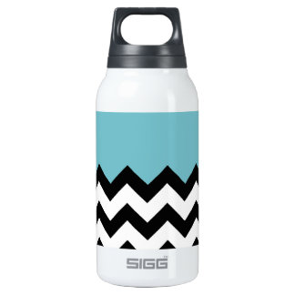 Blue-Curacao-Pattern-On-Black-&-White--Zigzag Insulated Water Bottle