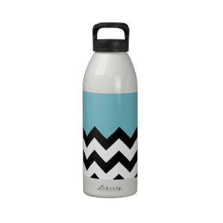 Blue-Curacao-Pattern-On-Black-&-White--Zigzag Water Bottle