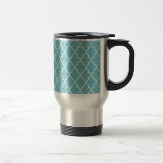 Blue Curacao & White Maroccan Trellis Quatrefoil 15 Oz Stainless Steel Travel Mug
