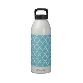 Blue Curacao & White Maroccan Trellis Quatrefoil Water Bottle