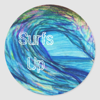 Blue curl, Surfs Up Round Sticker
