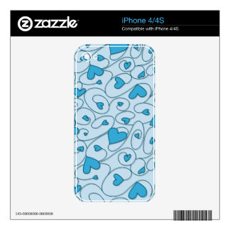 Blue curly hearts skin for iPhone 4S
