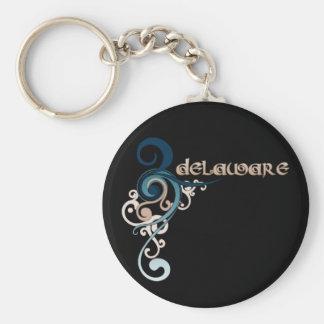 Blue Curly Swirl Delaware Keychain Dark
