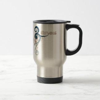 Blue Curly Swirl Illinois Travel Mug