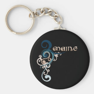 Blue Curly Swirl Maine Keychain Dark