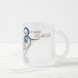 Blue Curly Swirl Rhode Island Mug Glass