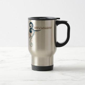 Blue Curly Swirl Tennessee Travel Mug