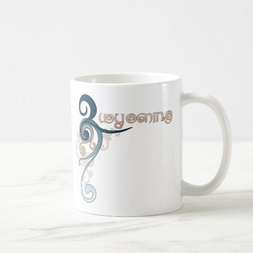 Blue Curly Swirl Wyoming Mug
