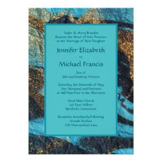 Blue Currents Wedding Invitation