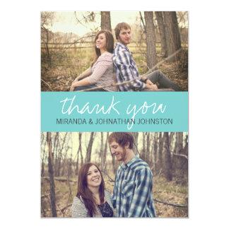 "Blue Cursive Photo Wedding Thank You Cards 5"" X 7"" Invitation Card"