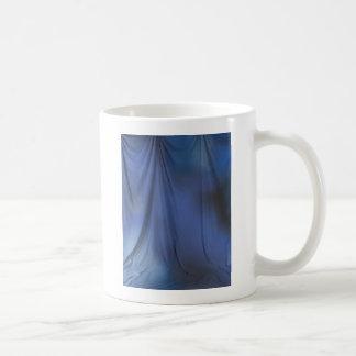 Blue curtain coffee mug