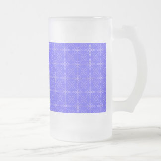 Blue curved line pattern frosted glass beer mug