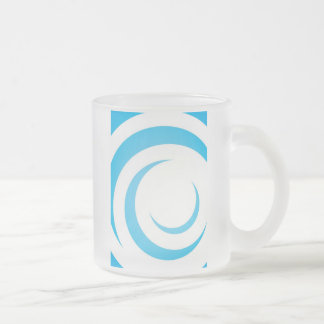 Blue Curves Design Frosted Glass Coffee Mug
