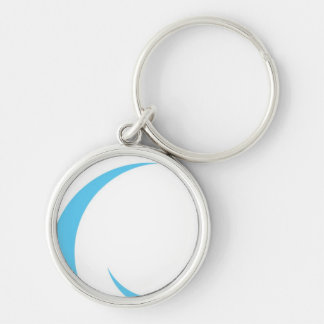 Blue Curves Design Silver-Colored Round Keychain