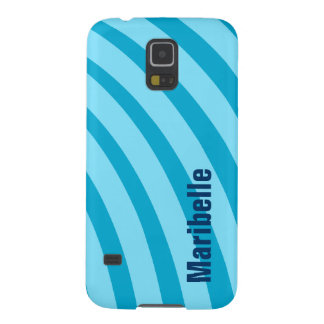 """Blue Curving Stripes """"Add Your Name"""" Case For Galaxy S5"""