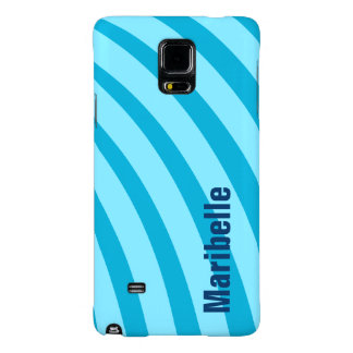 """Blue Curving Stripes """"Add Your Name"""" Galaxy Note 4 Case"""